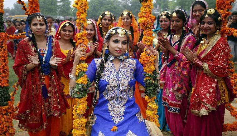 Traditional Teej festival celebrations in Amritsar, India.